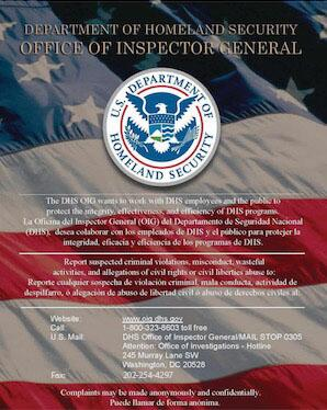 Download the DHS OIG poster in PDF format